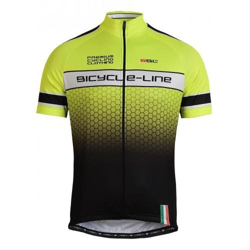 Μπλούζα Bicycle Line με κοντό μανίκι Premium Evo ΜΤΒ (Κοντό Φερμουάρ) Fluo Κίτρινη.
